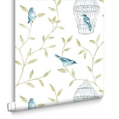 Birds and Cages Teal Wallpaper | Graham and Brown