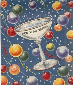 Vintage Deco New Year Card