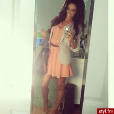 Peach dress with beige blazer