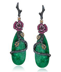 Rose-Motif Jade Drop Earrings by Wendy Yue