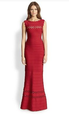 Herve Leger Strapless Nathalie Cutout Details Bandage Gown Red Dress