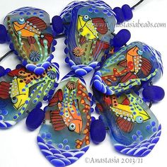 "ANASTASIA--lampwork+beads--(7)--""SEA+WORLD""--SRA"