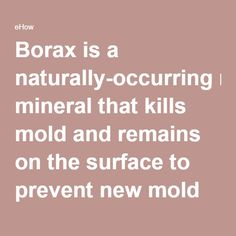 Borax is a naturally-occurring mineral that kills mold and remains on the surface to prevent new mold from growing. Mix 1 cup of borax with a gallon of water and scrub the surface, then allow it to dry. There's no need to rinse -- a fine film of borax is Cleaning Mold, Household Cleaning Tips, Cleaning Recipes, House Cleaning Tips, Cleaning Hacks, Deep Cleaning, Diy Cleaners, Cleaners Homemade, How To Kill Mold