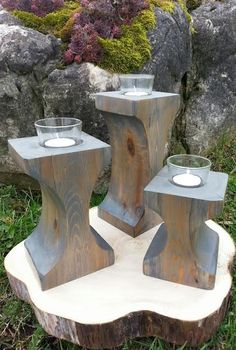 hand carved timber grey wash candle holders