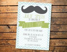 Mustache Little Man Baby Chevron Shower Birthday Party Printable Invitation on Etsy, $10.00