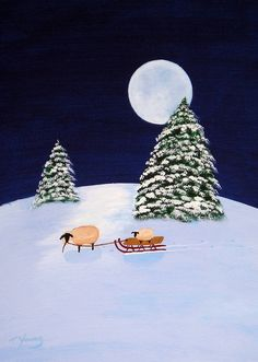 Christmas sheep folk art Print by Todd Young SLED от ToddYoungArt