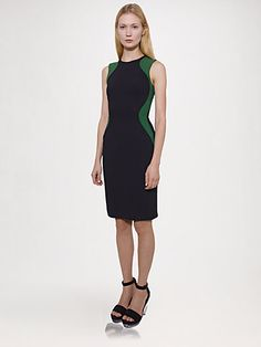 Stella McCartney - Stretch Cady Bi-Color Dress - Saks.com
