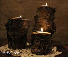 Log Candles Rustic Wedding Centerpiece $16.00