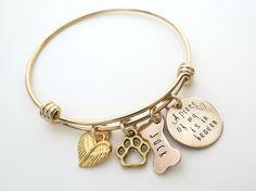 Personalized Gold Bracelet - Dog Memorial Jewelry - Personalized Dog Bangle - Custom Dog Bone  - Personalized Jewelry - by accessoriesbyregina