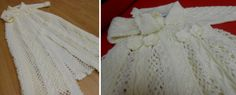 Heirloom Christening robe combination of knitting and crochet made by Patricia Cox