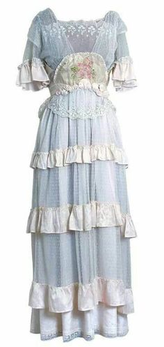 White lace and watercolour rose garden dress 1910