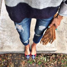 patterned flats + denim