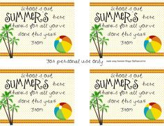 Summer Gifts For Students - End of the year teacher gift summer , add a beach towel, summer cup and somethin. Teacher Gift Tags, Teacher Gift Baskets, Teacher Thank You, Thank You Gifts, Teacher Treats, Teacher Stuff, Staff Gifts, Volunteer Gifts, Parent Gifts