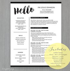resume template for ms word and pages hello 1 2 page resume cover letter reference sheet and thank you letter instant download