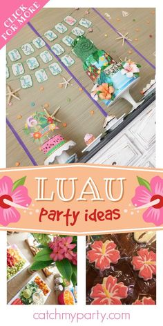 Take a look at this colorful Moana-themed luau birthday party! Love the birthday cake! See more party ideas and share yours at CatchMyParty.com