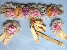 Pin-On VTG Silk Ribbon Work Flowers Rosettes Lace Trim Lot for French Doll Dress