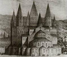 de abdijkerk van Cluny in de 16de eeuw. Lithografie van Emile Sagot. Parijs, BN