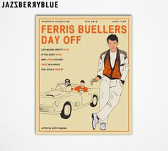 Perfect For The Living Room!  Movie Poster Pop Artwork for the home wall decor, GICLEE Fine Art Print (13x16) FERRIS BUELLER