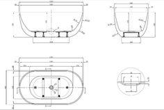 Vizzini Amalfi Free Standing Bath 1500 x 800 x 580mm