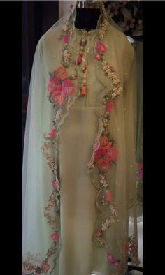 Dupatta is pure organza silk with mixed embroidery of thread and hand  Shirt is pure georgette