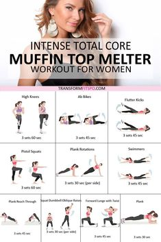 Feel the burn with this intense workout! These explosive exercises will shape up your abs and melt that muffin top! Get ready to discover your body confide - fitness Slim Fitness, Exercise Fitness, Fitness Workout For Women, Sport Fitness, Health Fitness, Fitness Pal, Weights Workout For Women, Full Body Workout At Home, Fitness Exercises