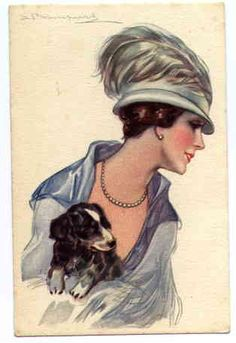 Glamor lady with puppy