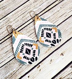 Leather Tribal Teardrop Earrings, Aztec Leather Earrings, Boho Chic Earrings, Southwestern Earrings, Turquoise and Mustard Earrings, Gift by whiteshedcreations on Etsy