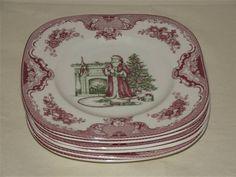 SET of 6 Johnson Brothers Old Britain Castles CHRISTMAS 20cm SQUARE PLATES #DessertPlates