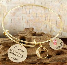 Personalized Bangle Bracelet, Love you to the moon and back Jewelry - Gold Bangle Charm Bracelet - Alex and Ani Style - Name Bracelet on Etsy, $65.00