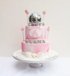2 tier Disco themed birthday cake by Funky fab cakes