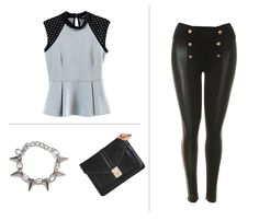 Studded black and gray peplum top,  Faux Leatherings ,  Office Envelope Clutch,  Punk-Luxe Chain Bracelet