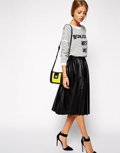 ASOS+Pleated+Midi+Skirt+in+Leather+Look