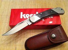 Kershaw Wildcat Ridge Lockback Knife Brown Wood Handles Folding KS 3140W Sheath