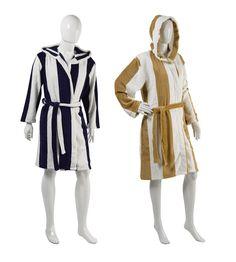 Slenderella Unisex Striped Coral Fleece Dressing Gown S-XL (Blue ...
