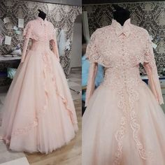 Real Photos Vintage High Neck Long Sleeve with Cape Lace Appliques Beads Pink Ball Gown Muslim Wedding Dresses 2015 FX544, $173.83 | DHgate.com