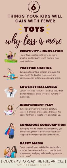 6 Reasons Your Kids Need Fewer Toys : Getting Started With Toy Minimalism Your kids will be happier with fewer toys, and here's why! This is great for parents wanting to cut clutter and try a minimalist approach to toys. Kids And Parenting, Parenting Hacks, Gentle Parenting, Funny Parenting, Peaceful Parenting, Parenting Websites, Practical Parenting, Mindful Parenting, Parenting Plan