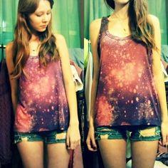DIY galaxy top and ripped denim shorts (by Lena Pota) http://lookbook.nu/look/3802229-DIY-galaxy-top-and-ripped-denim-shorts