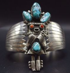 Vintage NAVAJO Sterling Silver CORAL & TURQUOISE KACHINA Cuff BRACELET 38g #Cuff