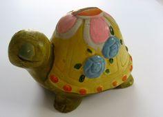 Vintage turtle bank Sleepy Cute ceramic children's decor by PickleladyVintage on Etsy