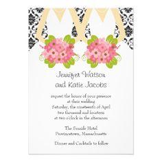 damask lesbian wedding invitation