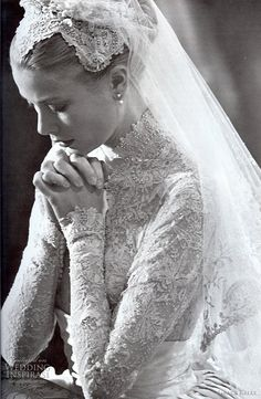 April 1956 – Grace Kelly Wedding Dress to marry Prince Rainier of Monaco. April 1956 – Grace Kelly Wedding Dress to marry Prince Rainier of Monaco. Wedding Book, Dream Wedding, Wedding Day, Wedding Ceremony, Lace Wedding, Wedding Gowns, Wedding Prayer, Royal Wedding Dresses, Bridal Gowns