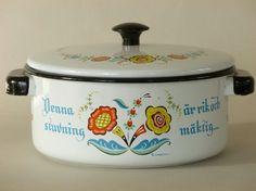 Vintage Berggren Enamelware Casserole Rosemaling Folk Art by Zetro