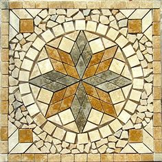 """Tumbled Natural Stone Mosaic Medallion 24"""" Indoor or Outdoor, Floor or Wall Tile Art By: Stone Deals Stone Deals http://www.amazon.com/dp/B015TOFGQY/ref=cm_sw_r_pi_dp_ALEbwb1CGDVZ9"""