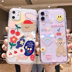 Cute Bear Phone Case For iPhone 12 11 Pro Max X XR XS Max 12 Mini 7 8 Plus SE 2020 Clear phone cover