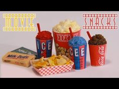 ▶ Movie Theater Snacks : How to Make Miniature Popcorn, Icee, Nachos, & Candy (Polymer Clay) - YouTube