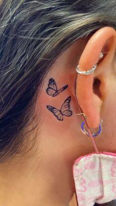 sarah👾(@sarahanneee) on TikTok: the beginning of a beautiful addiction <3 #fyp #tattoo #dontbesadgogetatattoo Neck Tattoos Women, Dope Tattoos For Women, Cross Tattoos For Women, Tiny Tattoos For Girls, Beautiful Tattoos For Women, Tattoo Women, Behind Ear Tattoo Small, Behind Ear Tattoos, Back Of Neck Tattoo