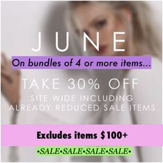 PLEASE SHARE! June sale! 30% off bundles. See desc 30% off bundle of 4 or more items! Whole closet is already marked down and sale excludes items $100 or more. Free People Tops