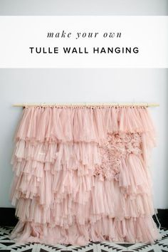 Amazing what 3 packs of Ikea curtains can do! We are making an oversized wall hanging with a weave look and you wont believe how easy it is to make. Use this diy tulle backdrop for your cake table or hang it in your office #ruffledblog #diytulleideas #diywallhanging #lillcurtains
