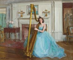 Woman in Blue with a Harp ~  Marguerite Stuber Pearson ~ (American 1898-1978)