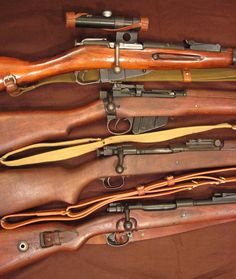 Historical rifles-Soviet Mosin-Nagant 91/30 PU Sniper, UK Lee-Enfield No4 Mk2, US Springfield M1903A1, German Mauser K98k